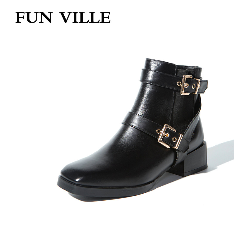 FUN VILLE 2017 New Fashion Spring Autumn Women Ankle Boots Genuine leather Hign quality Square Toe Slip-on lady shoes цены онлайн