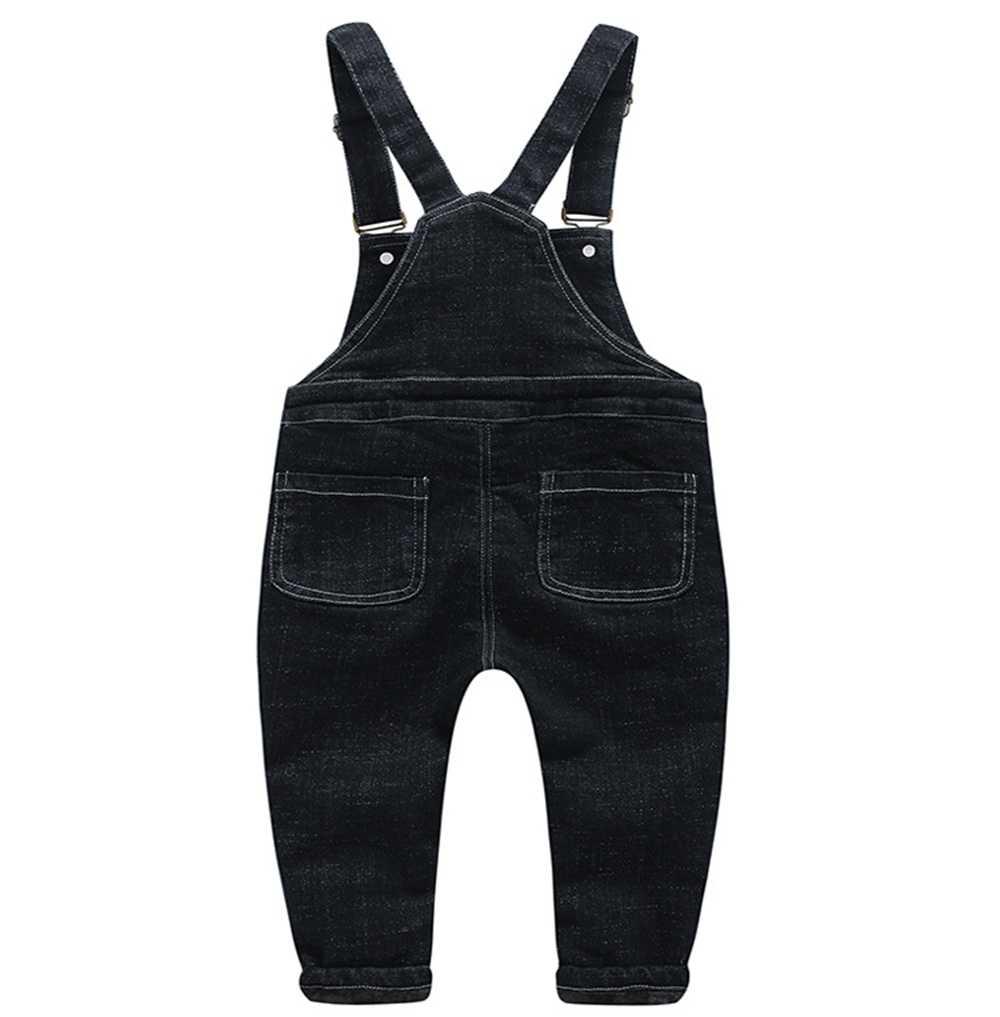 Kış işçi tulumu 1-4T bebek erkek kız Denim polar sıcak giyim yürümeye başlayan çocuk kot pantolon uzun pantolon Bebe tulum çocuklar elbise pantolon
