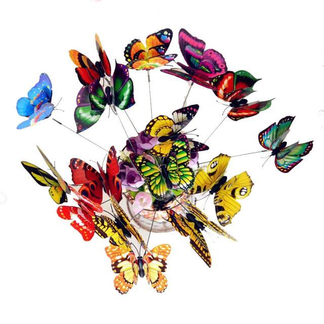 25 pz 3D Farfalla Sul Spiedi Casa Yard Prato Vaso di Fiori Pianta Decorazione de