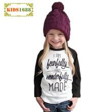 2016 Autumn ins baby Girls T-Shirt Fashion Letter Beautiful Print Blouse Brand long Sleeve casual T-shirts kids girls clothing