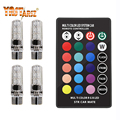4pcs RGB T10 W5W Led Car Clearance Lights SMD RGB T10 LED 194 168 Bulb Remote Width Interior Lighting Source Car Styling