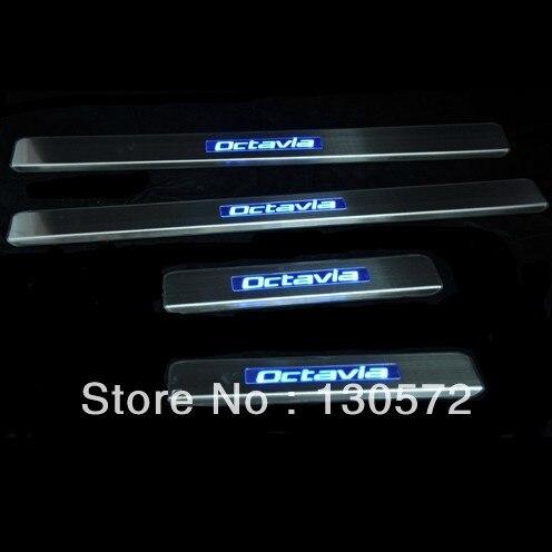 SK-O-да <font><b>Octavia</b></font> синий светодиод порога Накладка нет необходимости подключить провода быстро воздух корабль