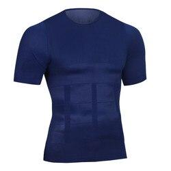 الرجال مشدات التخسيس البطن قمصان يوتار الخصر مشدات داخلية الذكور البطن المتقلب تنفس الجسم ضغط تي شيرت