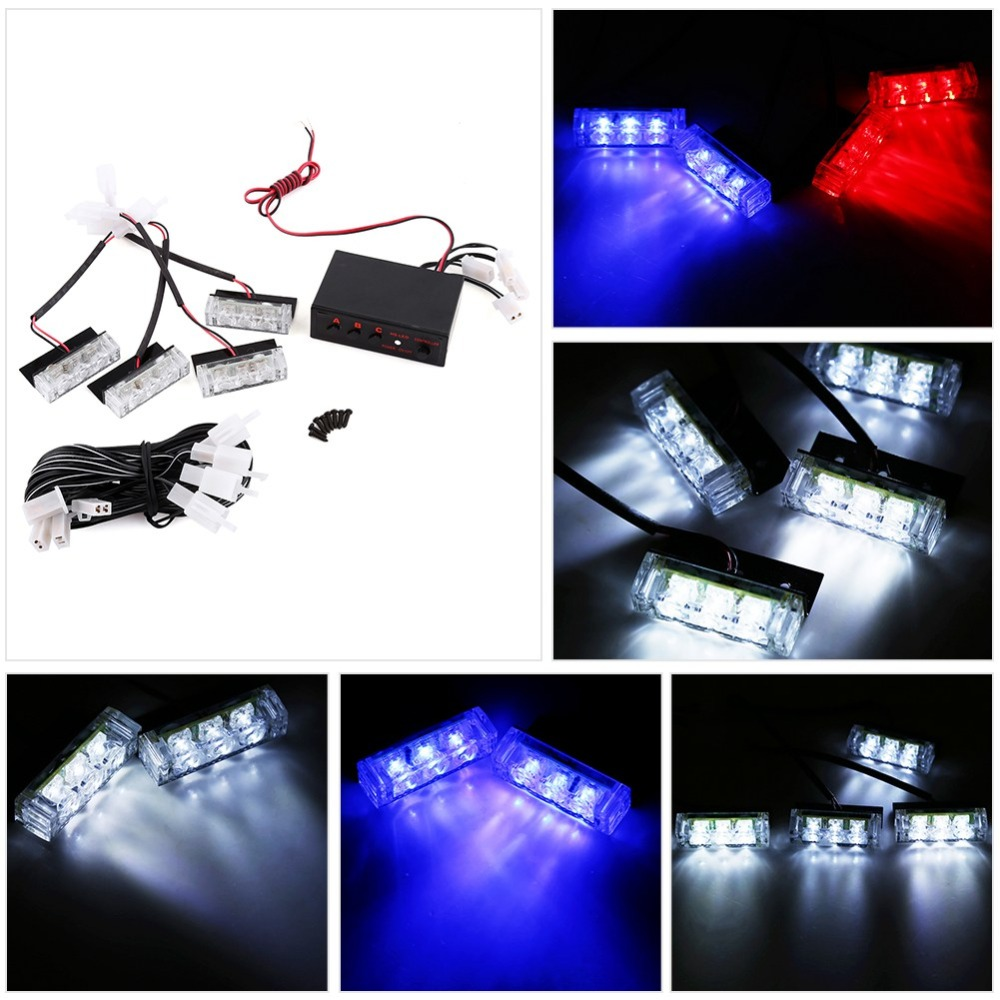 1 Set Strobe Flash Light 12v 4x3led Emergency Warning Light Auto Police Strobe Beacon Lamp Bulbs Signal Lights 3 Flash Modes Sale Price
