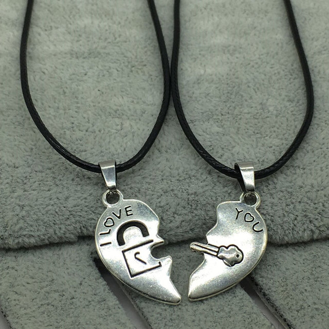 Couple's Necklaces with Heart Shaped Pendants