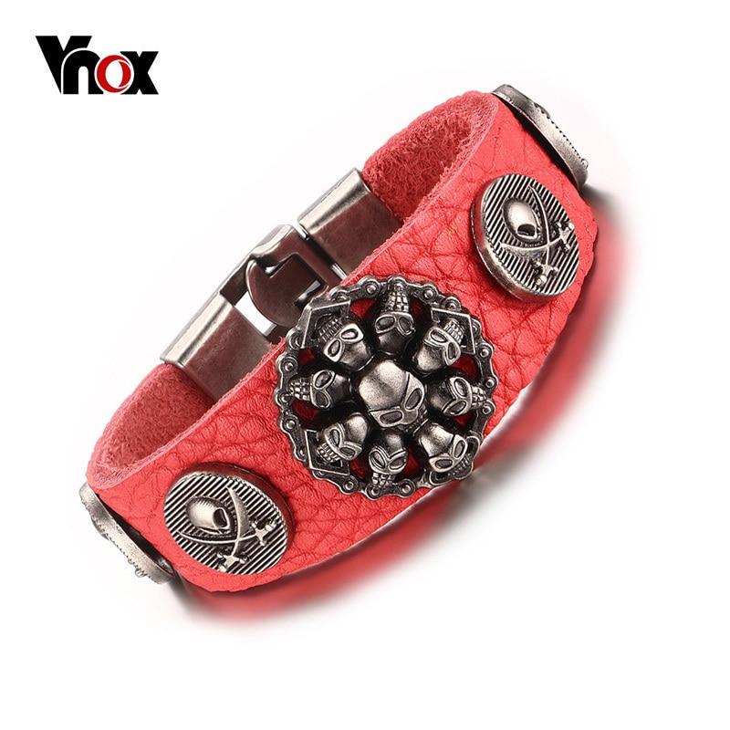 все цены на Vnox Trendy Red Color Genuine Leather Rope Chain Bracelet Rock Skull Charm Wrap Bracelets for Men Women Hiphop Jewelry 7.87