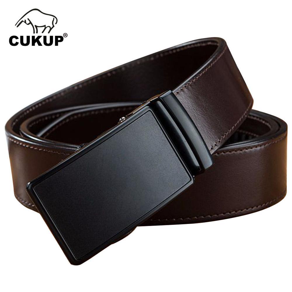 CUKUP Top qualité Pure peau de vache en cuir ceintures noir automatique boucle en métal mâle ceinture hommes accessoires formels NCK604