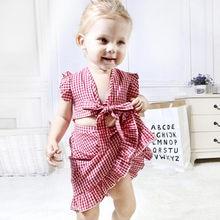 2 piezas princesa niña ropa conjunto bebé niño niñas los niños monos falda  mosca manga Plaid impresión Tops ropa trajes niños ro. 213e64e940e7