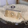 Las señoras elegantes de lujo carteras de embrague de alta calidad de cristal de las mujeres de plata de oro brillante bolso de noche de Embrague Billetera para fiestas