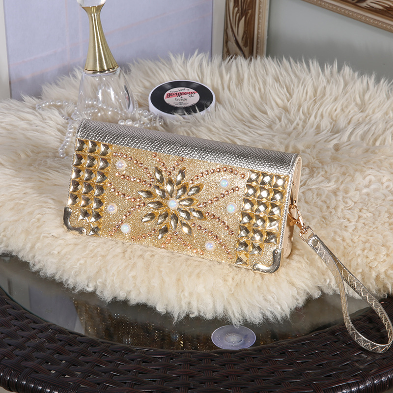 ladies elegant luxury gold silver clutch high-grade crystal womens wallets shiny evening bag Clutch Wallet for parties