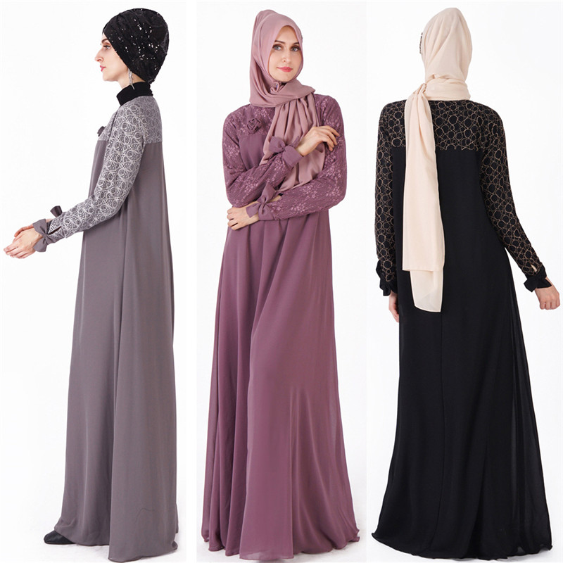 Élégant musulman Abaya dubaï Maxi robe caftan turquie femmes dentelle grande balançoire robe Robes islamiques moyen-orient arabe Robes musulmanes