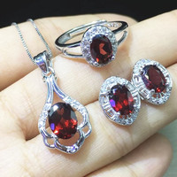 100% Natural Oval Cut Red Garnet 925 Sterling Silver Jewelry Sets Rings+Earrings+Necklace for Women Ladies Girls Xmas Jewel Gift