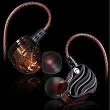 Haute qualité Double dynamique pilote écouteurs 3.5mm dans loreille écouteurs 4 haut parleurs HiFi basse stéréo sport écouteur avec Microphone