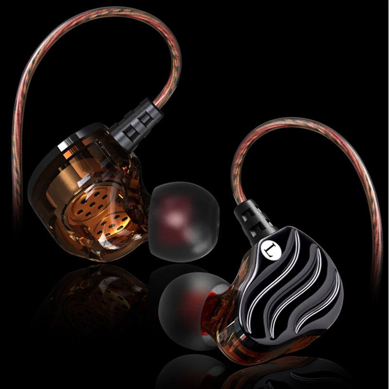 High Quality Double Dynamic Driver Earphones 3.5mm In-ear Earbuds 4 Speakers HiFi Bass Stereo Sports Earphone with Microphone