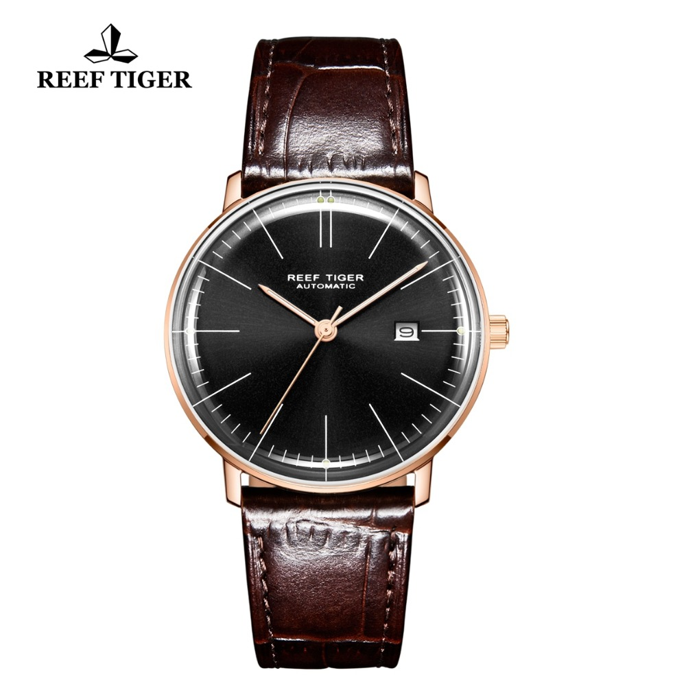 Reef Tiger/RT Luxruy Dress Watch Men Convex Lens Genuine Leather Strap Automatic Mechanical Watches with Date RGA8215Reef Tiger/RT Luxruy Dress Watch Men Convex Lens Genuine Leather Strap Automatic Mechanical Watches with Date RGA8215