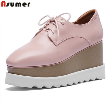 ASUMER Big size 33-42 New HOT Lace up genuine leather platform shoes wedges high heels round toe wedge pumps women shoes