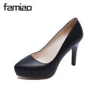 FAMIAO 2017 New Arrive High Quality Sexy Women Pumps High Heels Platform Shoes Woman Pointed Toe