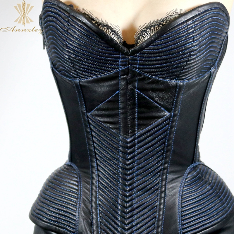 78fbf757ea9 Aliexpress.com   Buy Annzley Top Quality Side Zipper Genuine Leather Steel  Boned Overbust Corset from Reliable steel boned overbust corset suppliers  on ...