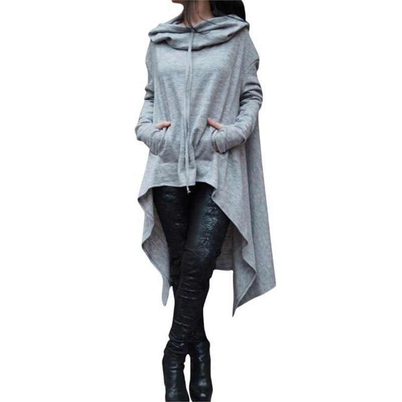 Women Hoodie Dress Sweatshirt Casual Long Sleeve Hooded Sweatshirts Tops Womens Asymmetric Clothes Plus Size moletom