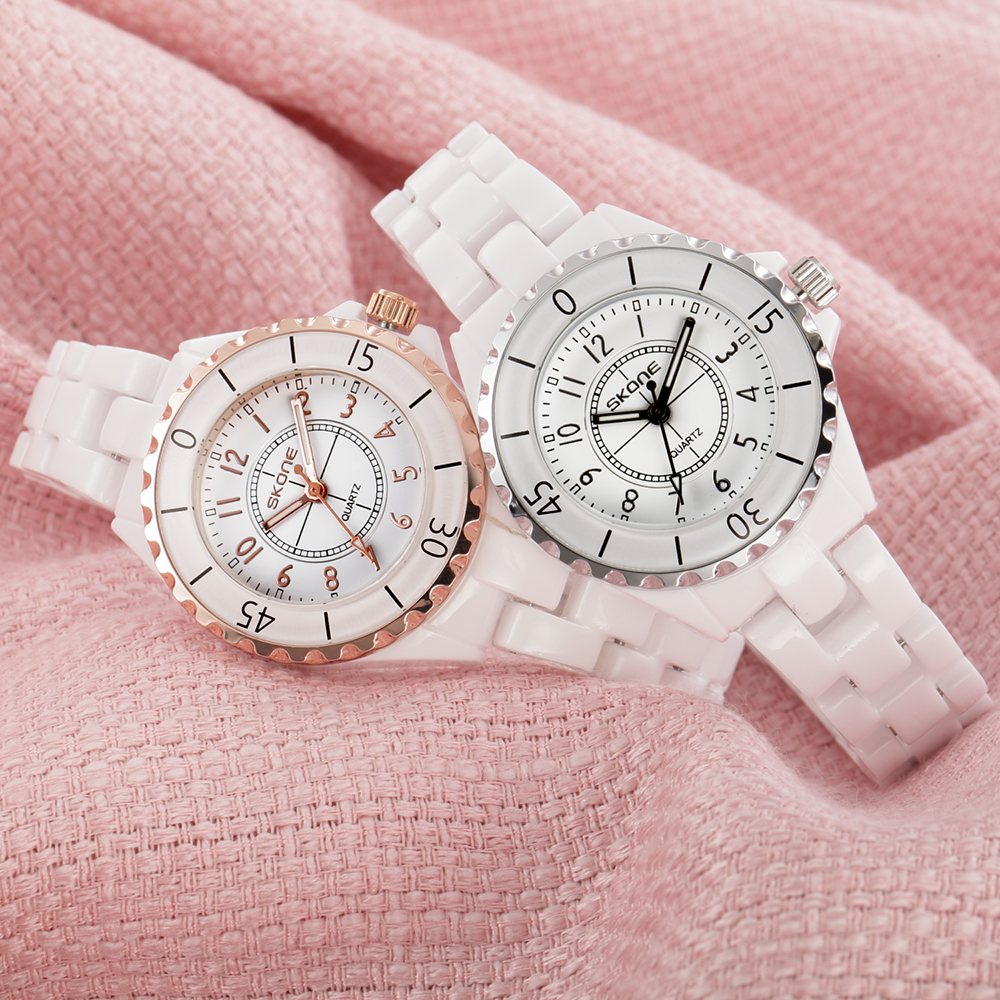 SKONE Brand Luxury Fashion Watches Women Rose Gold White Ceramic Ladies Quartz Watch Women's Wristwatch relogio feminino women fashion watches rose gold rhinestone leather strap ladies watch analog quartz wristwatch clocks hour gift relogio feminino