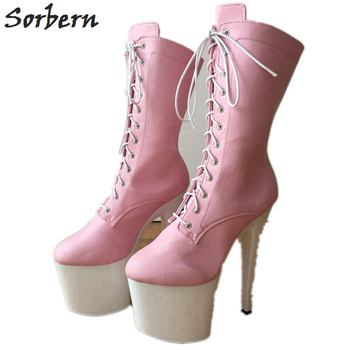 Sorbern Matte Pink Custom Wide Mid Calf Boots Women 20Cm High Heels Thick Platform Shoes Ladies Boots Size 8 On Sales Trendy