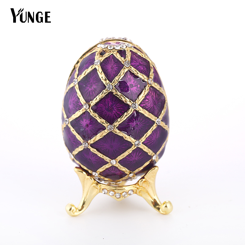Free Shipping russian faberge  purple egg  Jewelry Painted  Box on Stand set with enamel and Crystals for  home decoraction