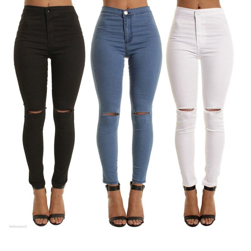 JRNNORV Black Colors High Waist Skinny Fashion Boyfriend   Jeans   for Women Hole Vintage Girls Slim Ripped Denim Pencil Pants 0146