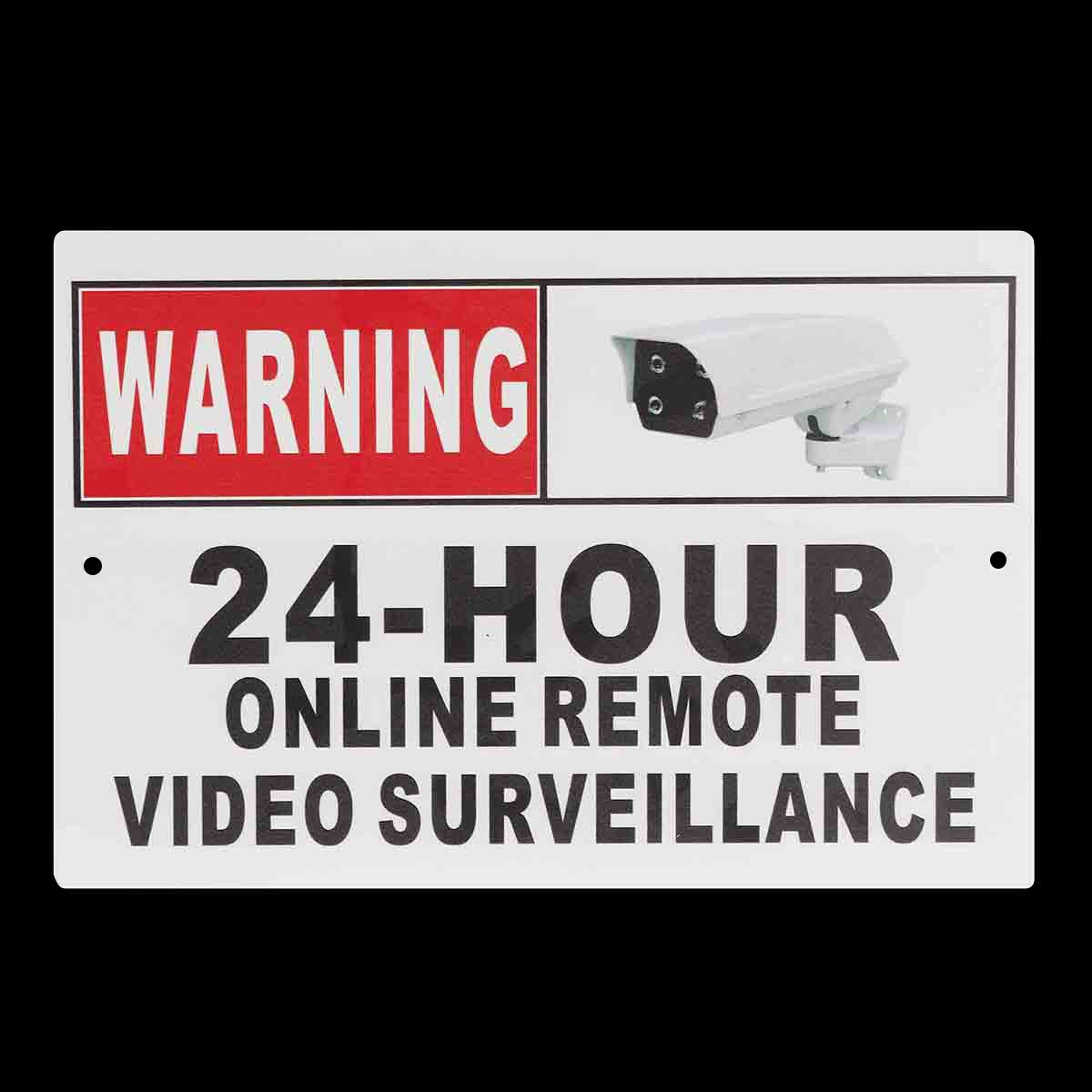 Warning 24 Hour Online Remote Video Surveillance Safety CCTV Camera Metal Signs signs