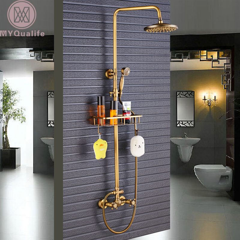 Antique Brass Shower Faucet Mixers Dual Handle Rainfall 8 Brass Shower Head with Bath Storage Shelf and Hooks Shower Water Tap watercolor wolf fabric shower curtain with hooks