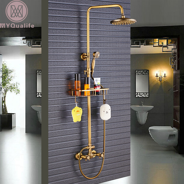 Antique Brass Shower Faucet Mixers Dual Handle Rainfall 8  Brass Shower Head with Bath Storage & Antique Brass Shower Faucet Mixers Dual Handle Rainfall 8