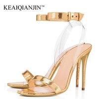 KEAIQIANJIN/женские летние босоножки на высоком каблуке с открытым носком золотистого цвета; большие размеры 34 45; серебристая Свадебная обувь на