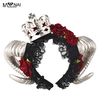 Handmade Restyle Large Ram & Roses Horns Gothic Headpiece Crown Headband Veil Kwaii Headbands Fancy Dress Steam Punk Costumes