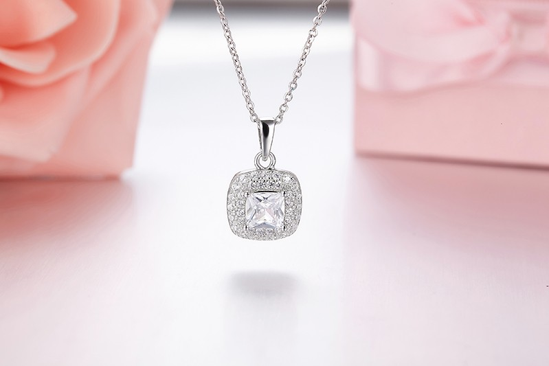 square shape silver pendant necklacesDP31910A (3)