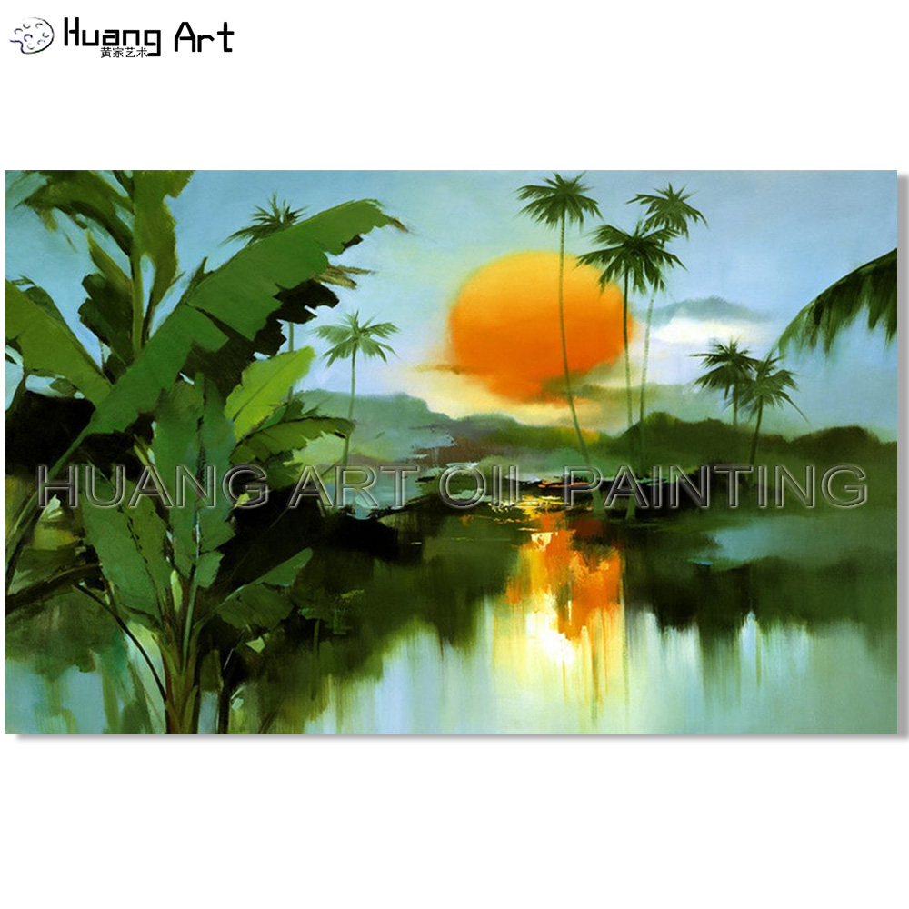 Excellent Artist Hand painted High Quality Modern Sunrise Lake Scenery Oil Painting on Canvas Tree Landscape Painting for Decor