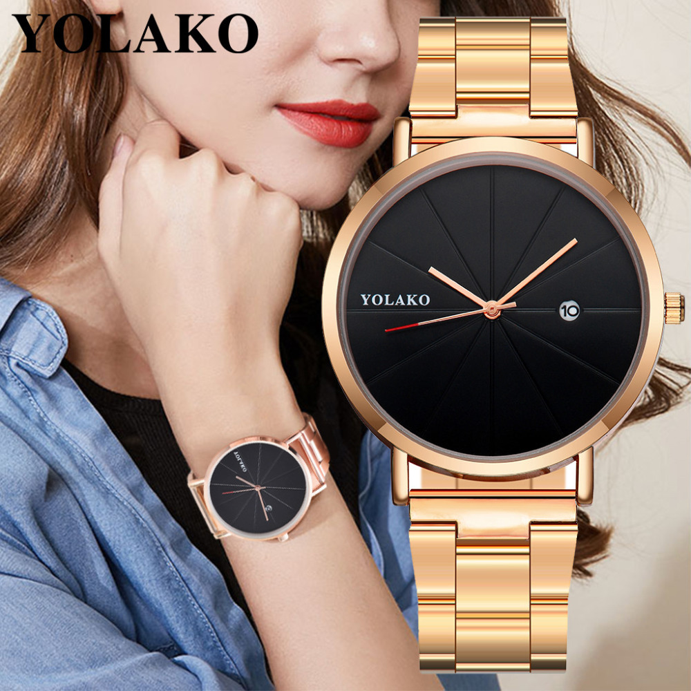 YOLAKO Hot Stainless Steel Watch Women Luxury Brand Simple Round Calendar Watches Fashion Quartz Wristwatch Clock Kol Saati #W