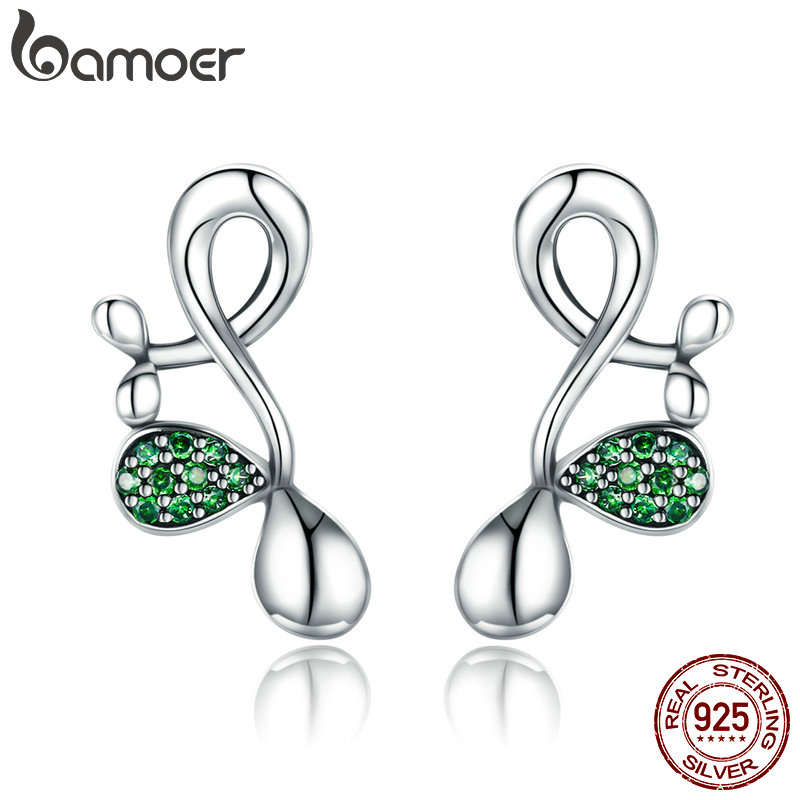 BAMOER New Collection 925 Sterling Silver Buds of Spring Green CZ Stud Earrings for Women Sterling Silver Jewelry Gift SCE372 pair of stylish rhinestone alloy stud earrings for women