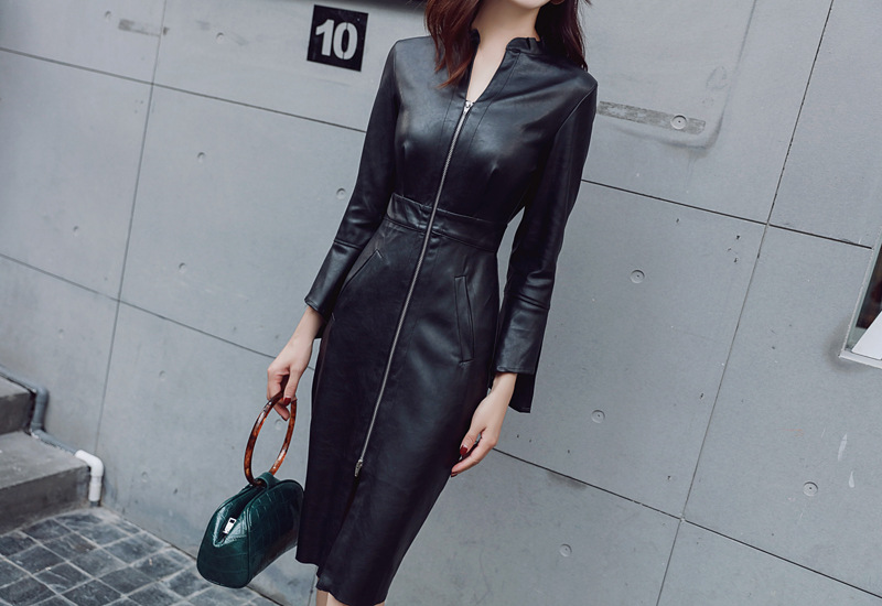 Autumn Black PU Zipper Sheath Dresses V Neck Long Sleeve Bodycon Dress Women Office Sexy Party Synthetic Leather Dresses Vestido 10