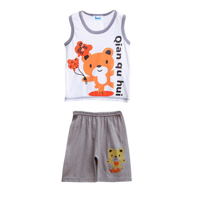 Kids Summer Baby Boys Printed Cartoon Sleeveless T-Shirt Tank Tops + Shorts Set Casual Clothes Outfits New Arrival hot sale 2016 kids boys girls summer tops baby t shirts fashion leaf print sleeveless kniting tee baby clothes children t shirt