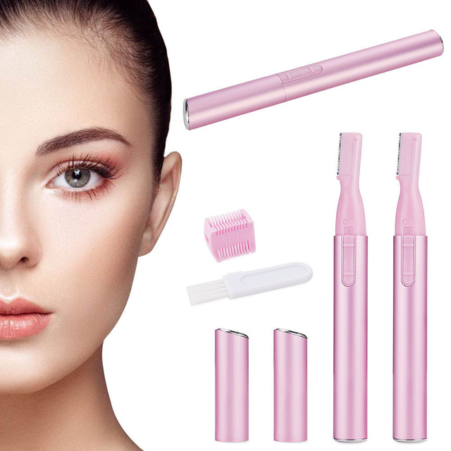 2pcs Electric Lady Trimmer/Epilator/Shaver Battery Operated Silk Smooth Eyebrow Armpit Hair Bikini Line Body Shaper