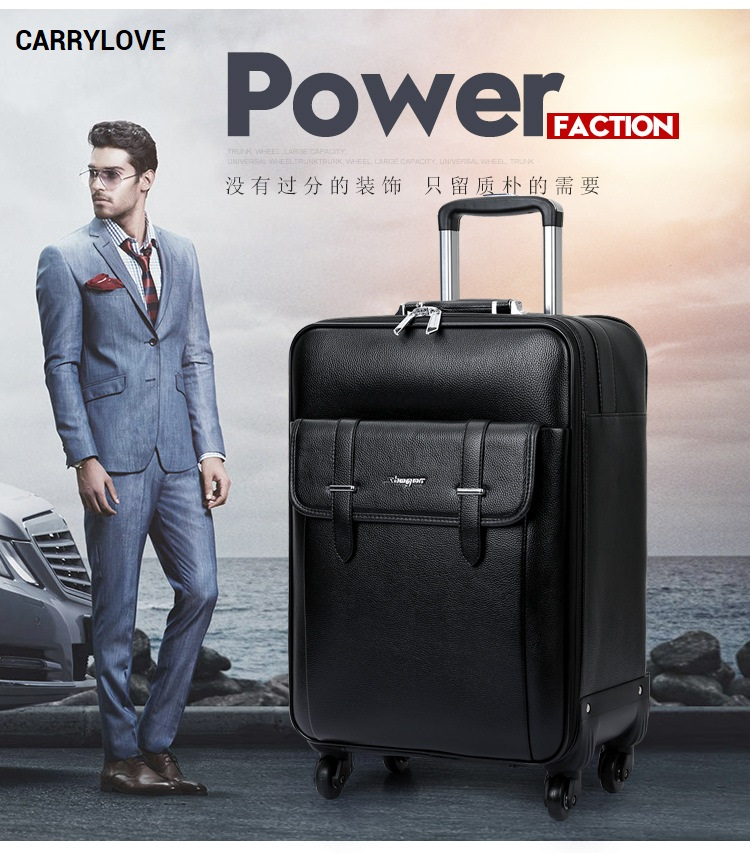 CARRYLOVE 2018 Business luggage 16/20/24 size High-quality PU Rolling Luggage Spinner brand Travel Suitcase