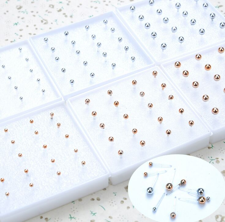 10 Pairs 2-4mm Ear Stud Earring For Woman Party Jewelry Piercing Small Round Gold Silver Ball Earrings For Girls Allergy Free(China)
