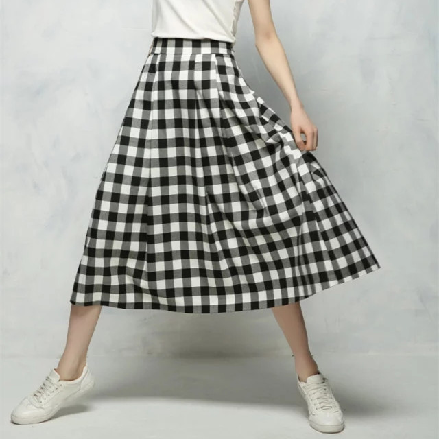 C0425Z13 Europe and the United States in the summer of 2017 new stars with the same fashion striped plaid skirt Y033 0427