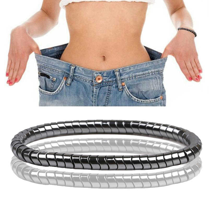 Perda de peso terapia magnética pulseira para homem feminino 8mm preto hematite pedra contas estiramento cuidados de saúde pulseira jóias presente