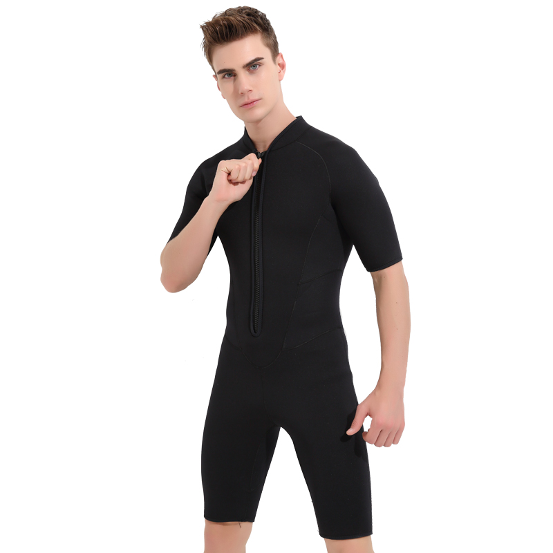 Mens Neoprene Short Sleeve Front Zipper 3mm Shorty Wetsuit One-piece Jumpsuit for Surfing Snorkeing Swimming Diving SuitMens Neoprene Short Sleeve Front Zipper 3mm Shorty Wetsuit One-piece Jumpsuit for Surfing Snorkeing Swimming Diving Suit