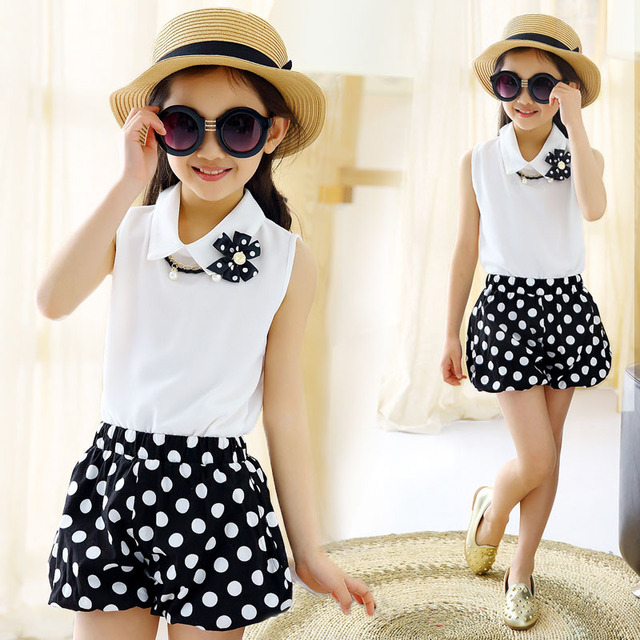 Kids Girls clothes Sport suits 2016 summer dot chiffon sleeveless lapel Shirt+shorts Set baby Girl Children clothing sets 4-12Y