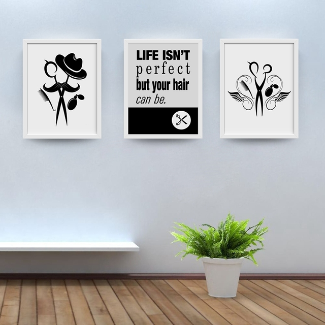 Hairstylist logo hairdresser canvas art prints and poster funny hair salon canvas painting wall picture