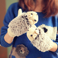 2017 Hedgehog Gloves Women Winter Ladies Warm Knitted Crochet Wrist Cartoon Fleece Heated Mittens Erinaceus Outdoor Gifts S1559