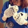 2017 Ouriço Luvas das Senhoras Das Mulheres Inverno Quente Malha Crochet Pulso Dos Desenhos Animados do Velo Luvas Aquecidas Erinaceus Presentes Ao Ar Livre S1559