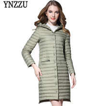YNZZU New Autumn Women Down Jackets Elegant Ultra Light Hooded Long Winter Jackets Coats Slim Women Parka Plus Size O240