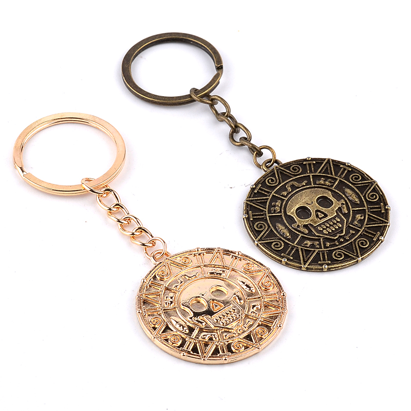 Pirates of the Caribbean Keychain Aztec Coin Skull Pendant ...